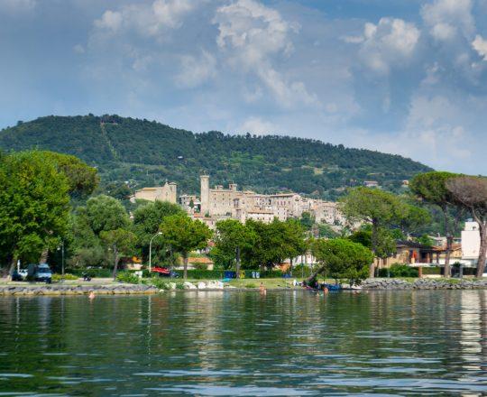 Veduta di Bolsena dal lago di Bolsena. Viterbo. Lazio.