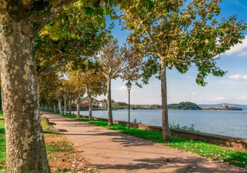 Canva - Along the lake with benches and trees in Marta on Lake Bolsena